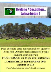 Grand Pique-nique contre Oxylane. Defendons le site des Fontanelles contre le projet de centre commercial.